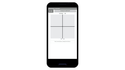Screenshot of the app controller. Top of the screen has 'Connect' button to establish the Bluetooth connection. The middle of the screen has a square grid with a single cross that divides the square into four equal quadrants.
