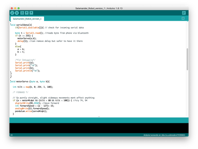 Screenshot of the Arduino IDE interface with the data reading function.